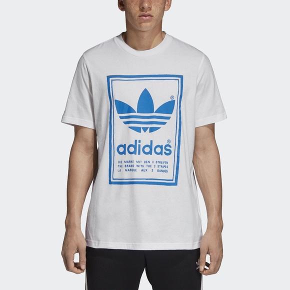 Men's dark blue and white stripe adidas T shirt